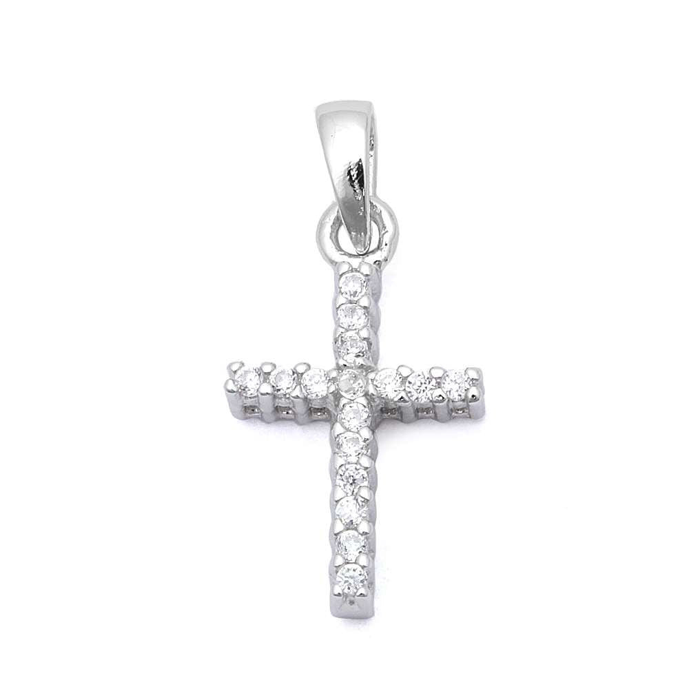 Petite Cross Pendant Solid 925 Sterling Silver Round Russian Diamond CZ Simple Cross Pendant Charm For necklace Religious Gift Cross Jewelry,  - Blue Apple Jewelry