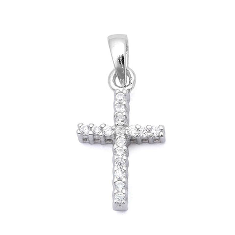 Petite Cross Pendant Solid 925 Sterling Silver Round Russian Diamond CZ Simple Cross Pendant Charm For necklace Religious Gift Cross Jewelry - Blue Apple Jewelry