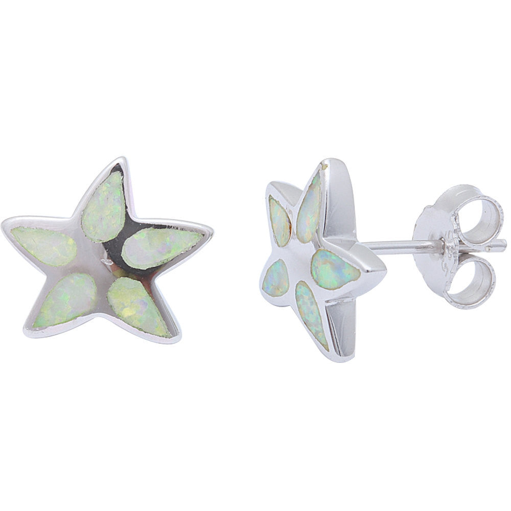 Starfish Earring Solid 925 Sterling Silver Lab Created Fiery White Opal Inlay Nautical Starfish Stud Post Earrings Starfish Jewelry - Blue Apple Jewelry