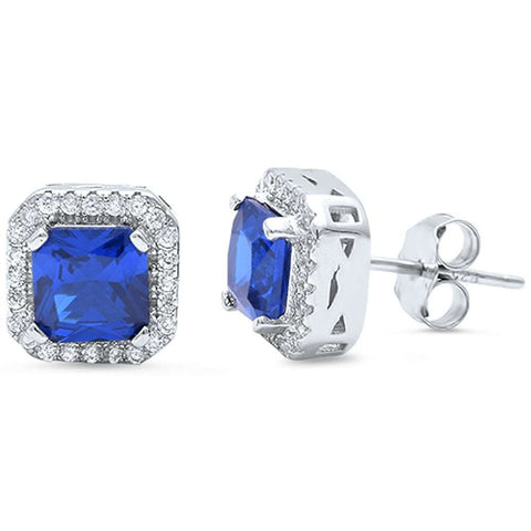 Halo Stud Post Earring Solid 925 Sterling Silver 1.28CT Princess Cut Square Tanzanite CZ Round Russian CZ Wedding Engagement Bridesmaid gift - Blue Apple Jewelry