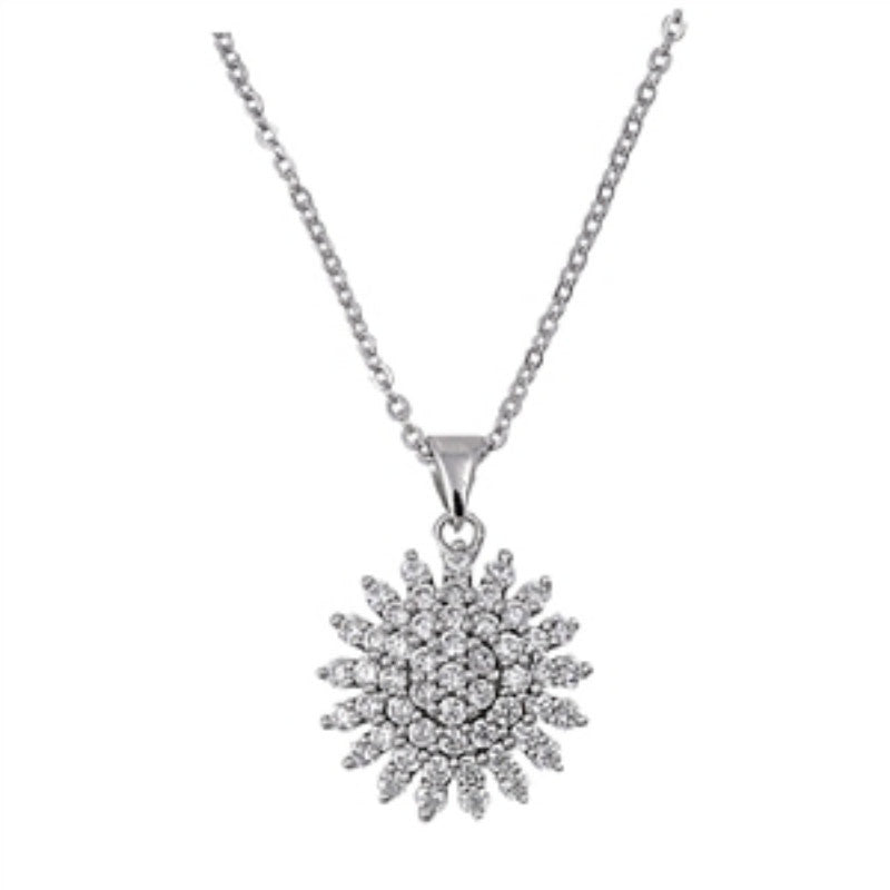 Cluster Flower Halo Necklace Solid 925 Sterling Silver 2.00CT Round Russian Diamond Clear CZ Flower Pendant Necklace - Blue Apple Jewelry
