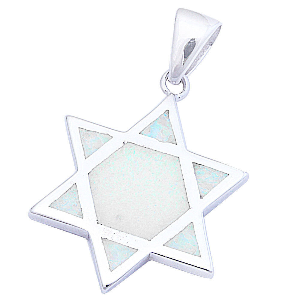 "White Opal Star Of David Jewish Star Pendant Charm Solid 925 Sterling Silver Lab White Opal Jewish Star of David Jewelry 1.1"" Long - Blue Apple Jewelry"