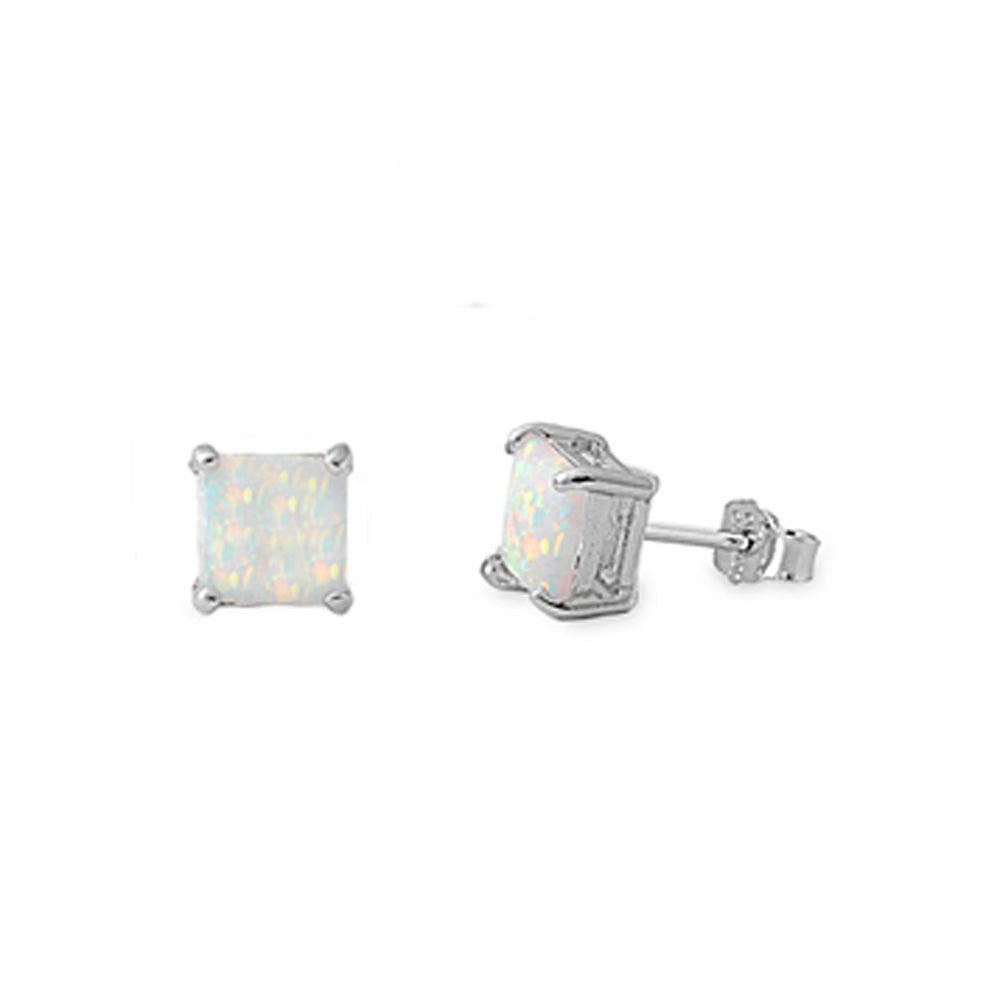 Solitaire Stud Post Earring Solid 925 Sterling Silver 6mm 1.60CT Princess Cut Square Lab White Opal Fiery Opal Stud Earring Basket Set,  - Blue Apple Jewelry