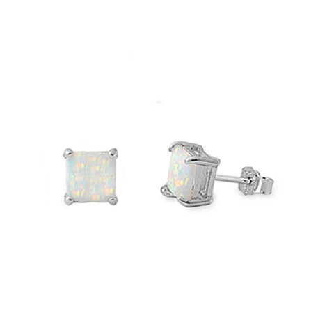 Solitaire Stud Post Earring Solid 925 Sterling Silver 6mm 1.60CT Princess Cut Square Lab White Opal Fiery Opal Stud Earring Basket Set - Blue Apple Jewelry