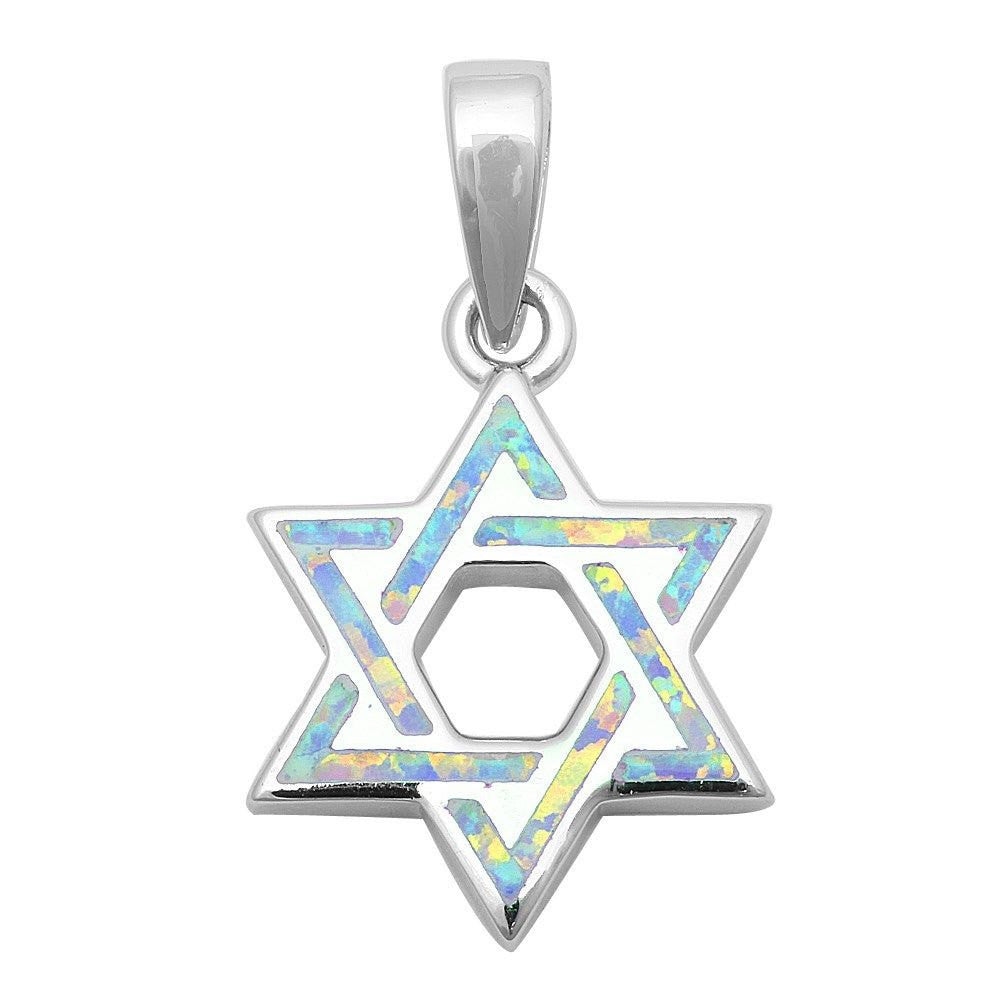 White Opal Star Of David Jewish Star Pendant Charm Solid 925 Sterling Silver Lab White Opal Jewish Star of David Jewelry,  - Blue Apple Jewelry