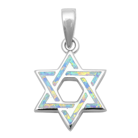 White Opal Star Of David Jewish Star Pendant Charm Solid 925 Sterling Silver Lab White Opal Jewish Star of David Jewelry - Blue Apple Jewelry