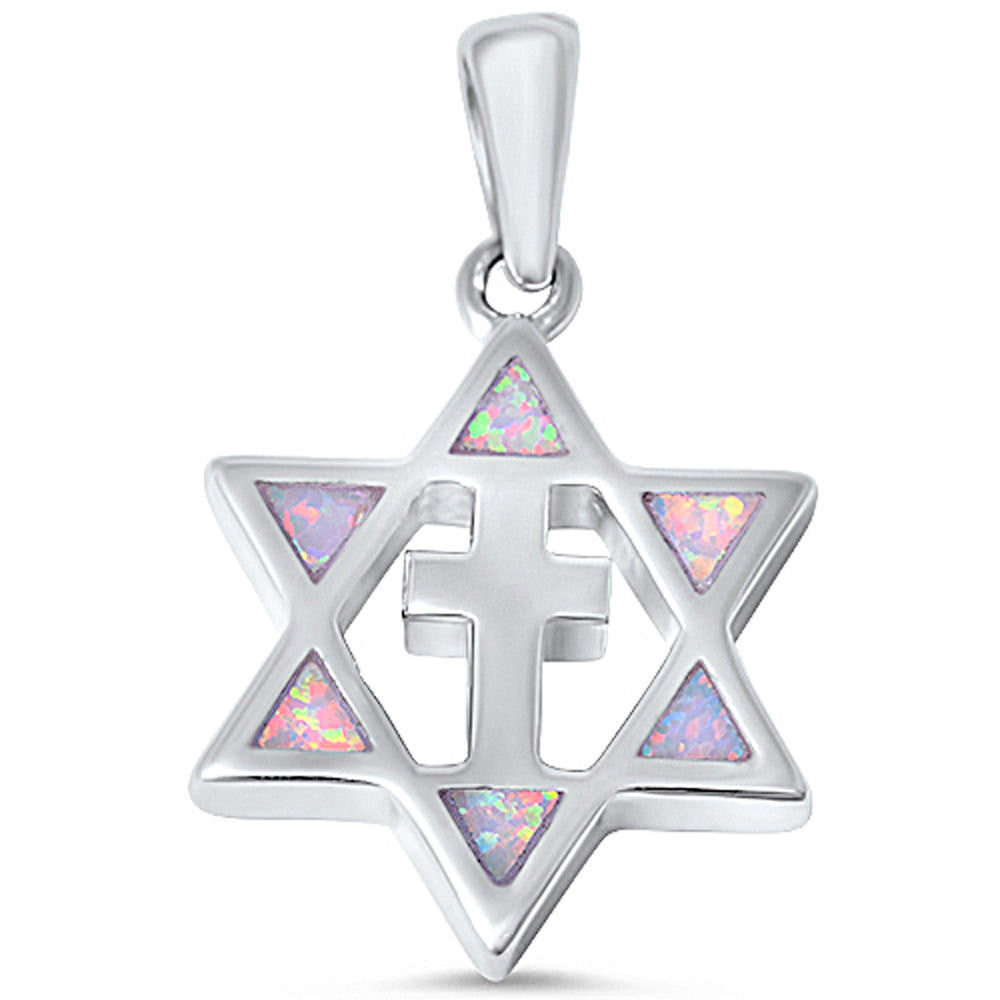White Opal Cross & Star Of David Jewish Star Pendant Charm Solid 925 Sterling Silver Lab White Opal Jewish Star of David Jewelry,  - Blue Apple Jewelry