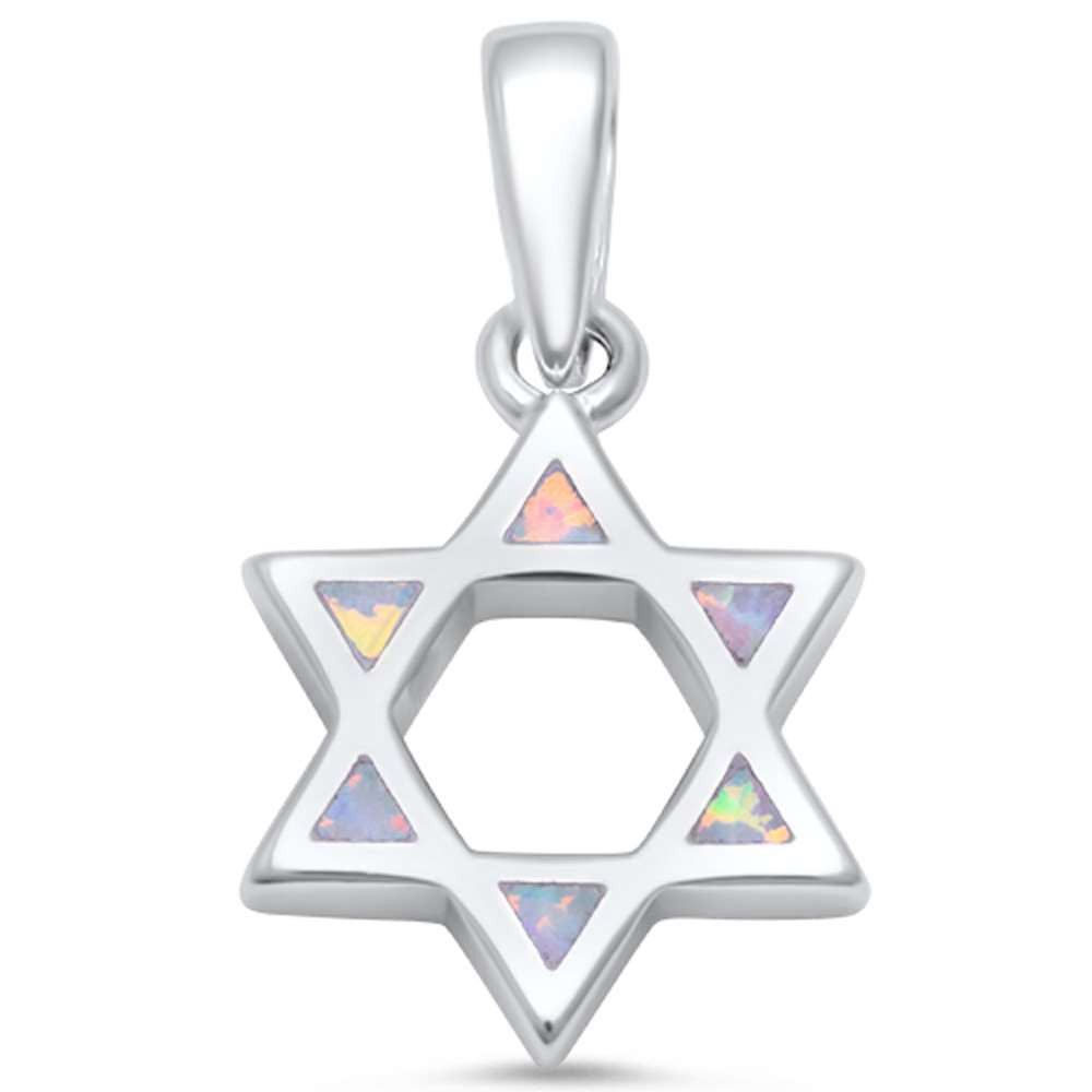 Star Of David Jewish Star Pendant Charm Solid 925 Sterling Silver Lab White Opal Jewish Star of David Jewelry - Blue Apple Jewelry