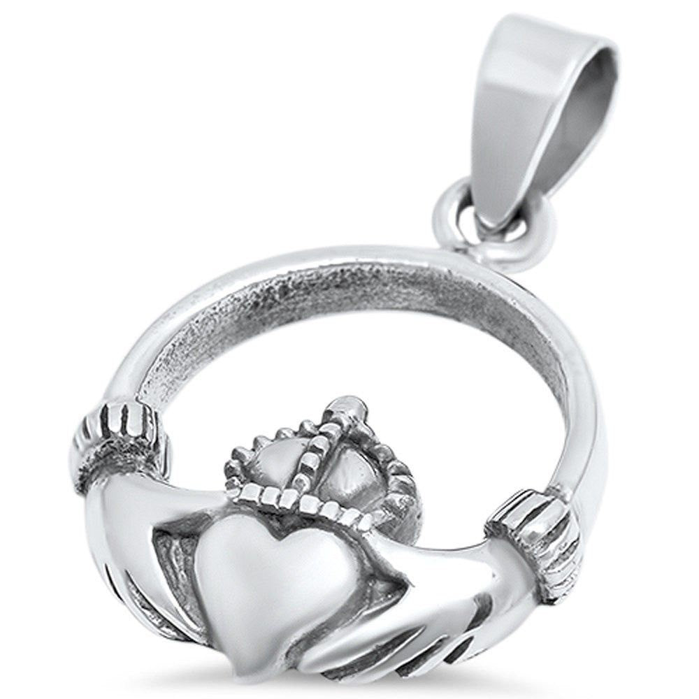 Claddagh Pendant Solid 925 Sterling Silver Heart Shape Finish Oxidized Irish Dublin Claddagh Fidelity Promise Pendant Love Claddagh Jewelry - Blue Apple Jewelry