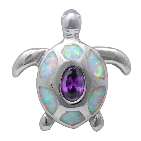 Turtle Pendant Lab White Opal Oval Cut Bezel Purple Amethyst Solid 925 Sterling Silver Pendant Turtle Lovers Good Luck Gift Turtle Charm - Blue Apple Jewelry