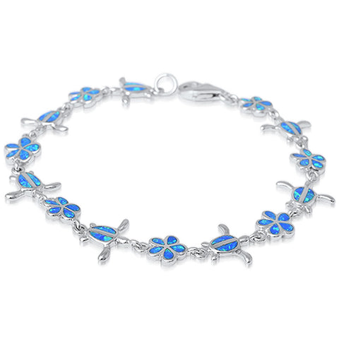 "Turtle Plumeria Bracelet Blue Opal Solid 925 Sterling Silver 7.5"" Nature Inspired Lab Blue Opal Bracelet Turtle Plumeria Flower Bracelet - Blue Apple Jewelry"