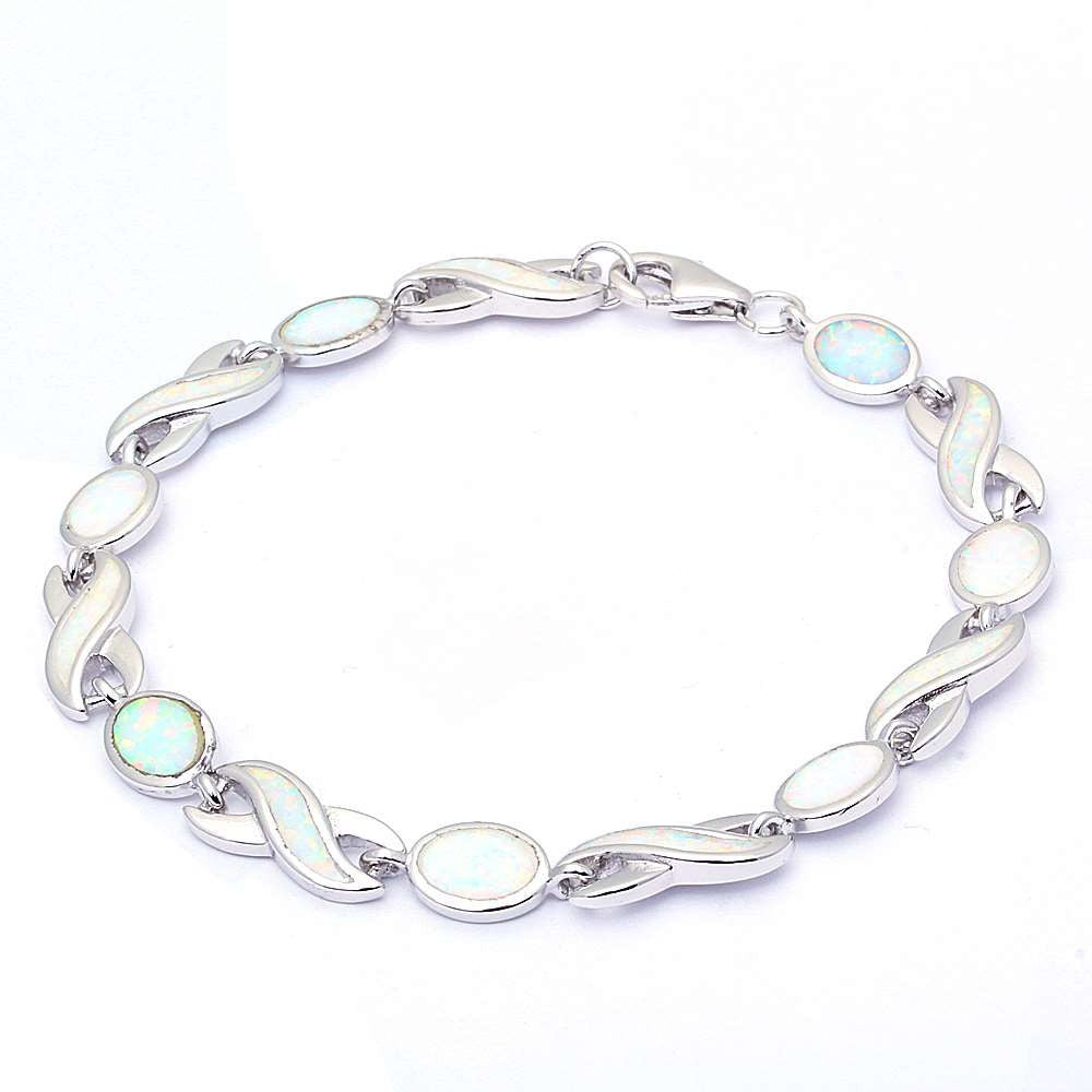 "Trendy White Opal Oval Infinity Bracelet White Opal Solid 925 Sterling Silver 7.5"" Lab White Opal Bracelet Crisscross Knot Crossover Love - Blue Apple Jewelry"