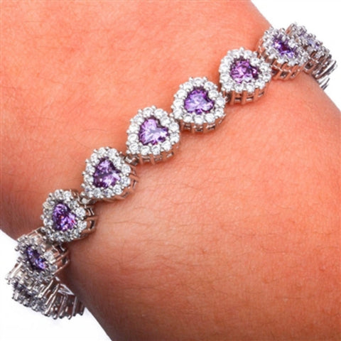 "Heart Tennis Bracelet Heart Shape Purple Amethyst Clear White CZ Solid 925 Sterling Silver 8"" Heart Halo Promise Bridesmaid Gift Valentines - Blue Apple Jewelry"