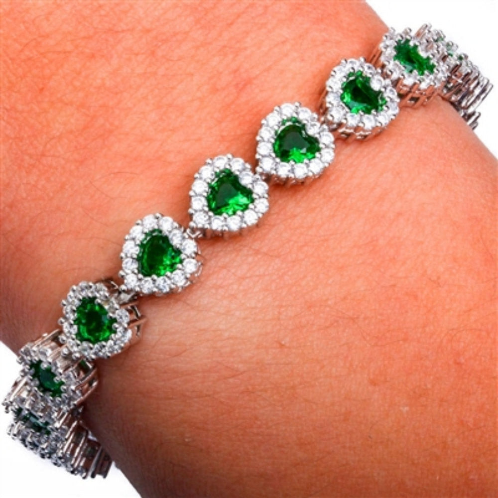 "Heart Tennis Bracelet Heart Shape Emerald Green Clear White CZ Solid 925 Sterling Silver 8"" Heart Halo Promise Bridesmaid Gift Valentines - Blue Apple Jewelry"