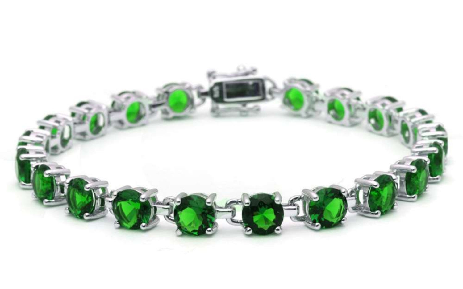 Tennis Bracelet 16.5 Carat Round Cut Emerald Green Solid 925 Sterling Silver Solitaire Wedding Engagement Tennis Bracelet Top Gift - Blue Apple Jewelry