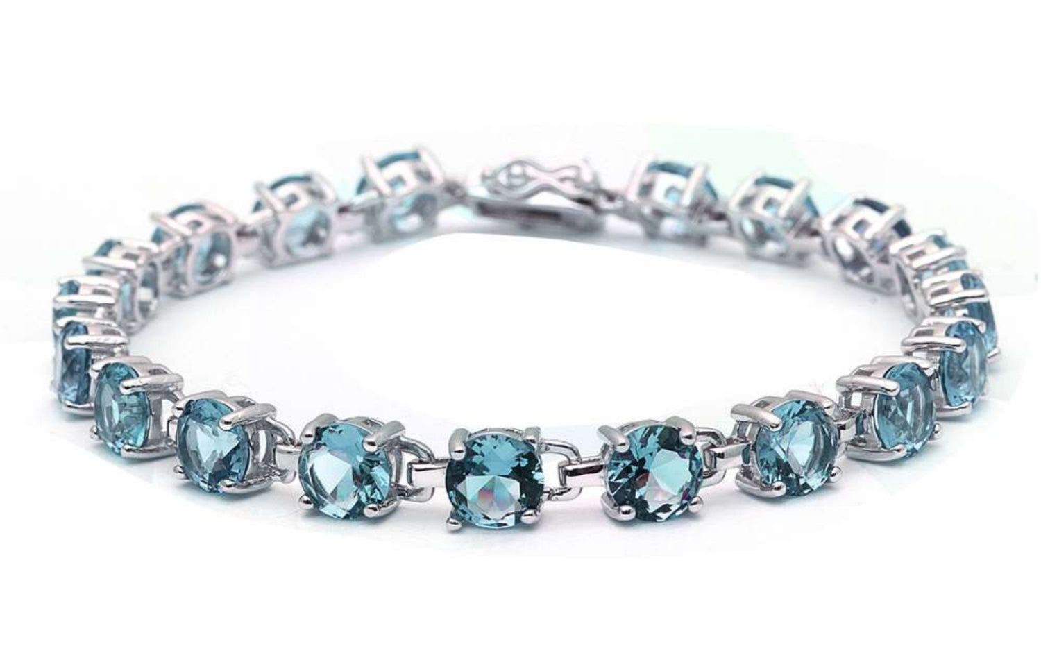 Classic Tennis Bracelet 16.5 Carat Round Cut Blue Aquamarine Solid 925 Sterling Silver Solitaire Wedding Engagement Tennis Bracelet Top Gift - Blue Apple Jewelry