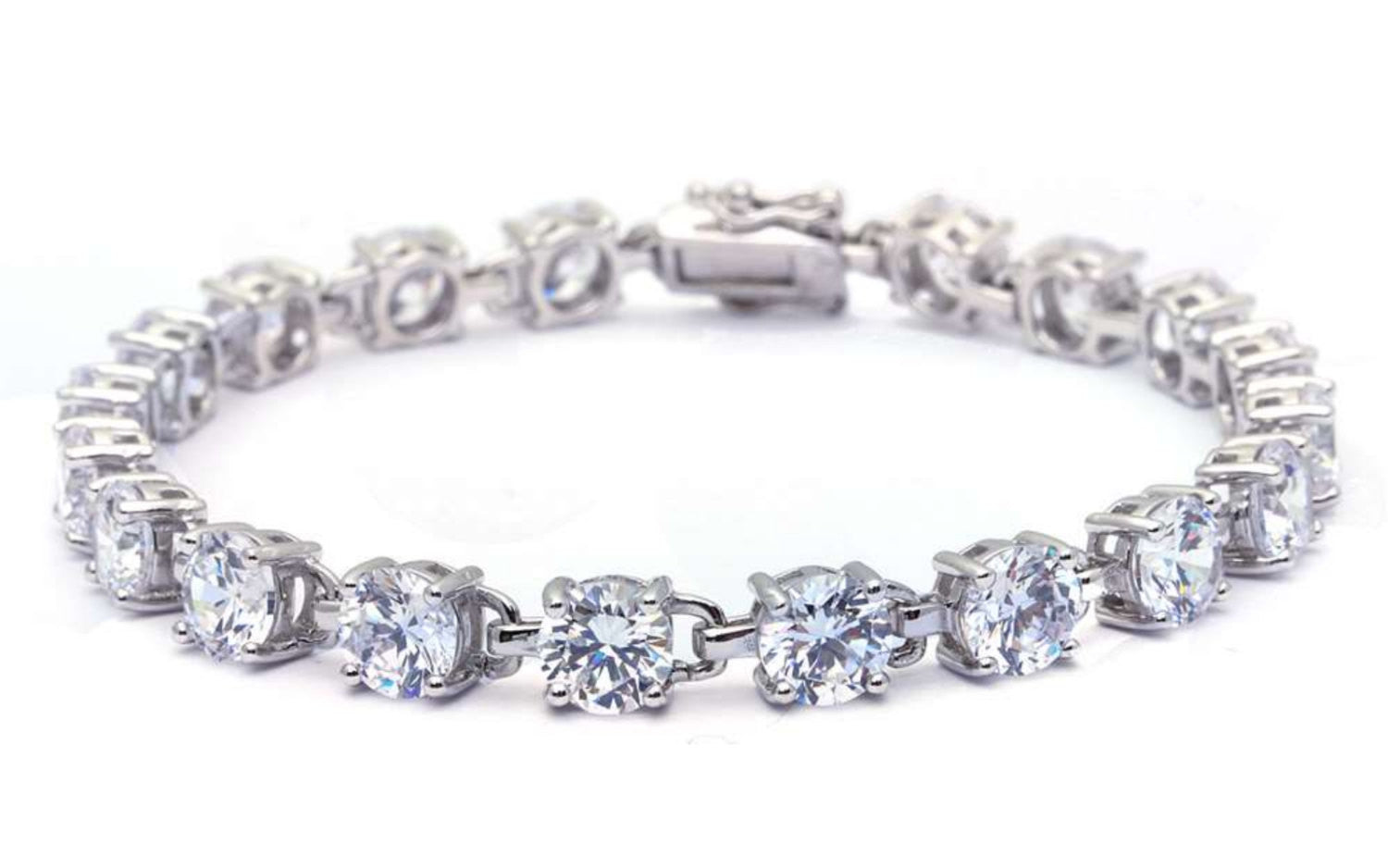 Tennis Bracelet 16.5 Carat Round Cut Clear Diamond White CZ Solid 925 Sterling Silver Solitaire Wedding Engagement Tennis Bracelet Top Gift - Blue Apple Jewelry