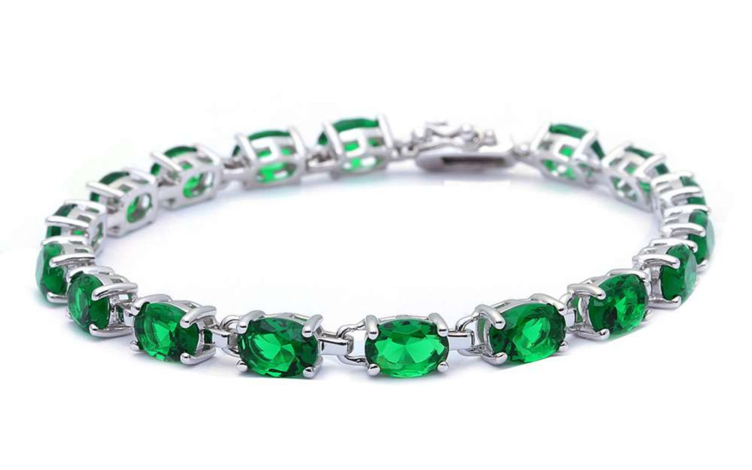 Ladies Classic Tennis Bracelet 13.5 Carat Oval Cut Emerald Green CZ Solid 925 Sterling Silver Solitaire Wedding Engagement Tennis Bracelet