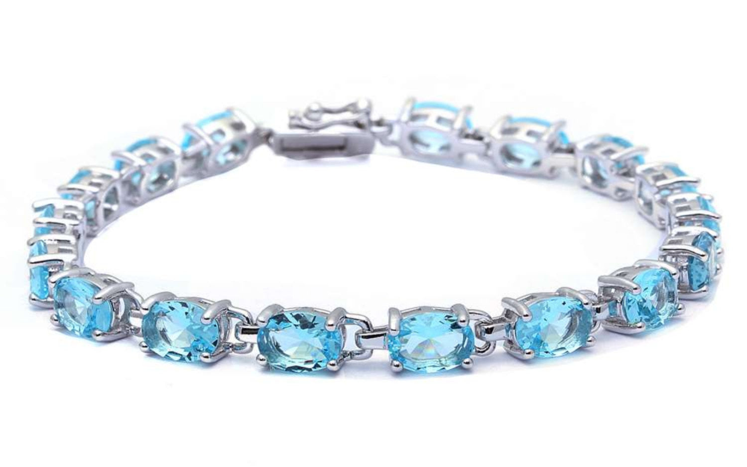 Ladies Classic Tennis Bracelet 13.5 Carat Oval Cut Blue Aquamarine Solid 925 Sterling Silver Solitaire Wedding Engagement Tennis Bracelet