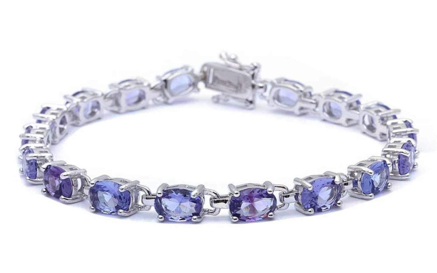 Ladies Classic Tennis Bracelet 13.5 Carat Oval Cut Tanzanite CZ Solid 925 Sterling Silver Solitaire Wedding Engagement Tennis Bracelet