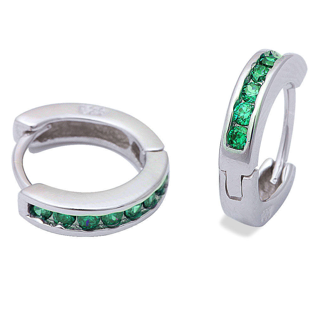 3mmx13.5mm Hoop Earrings Solid 925 Sterling Silver Channel Round Emerald Green CZ Hoop Huggies Earrings May Birthstone - Blue Apple Jewelry