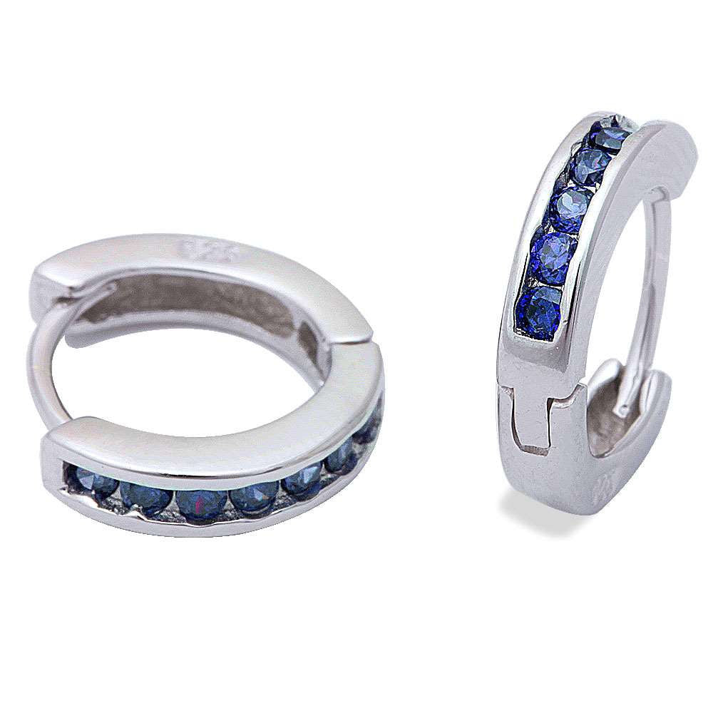 3mmx13.5mm Hoop Earrings Solid 925 Sterling Silver Channel Round Deep Blue Sapphire CZ Hoop Huggies Earrings September Birthstone - Blue Apple Jewelry