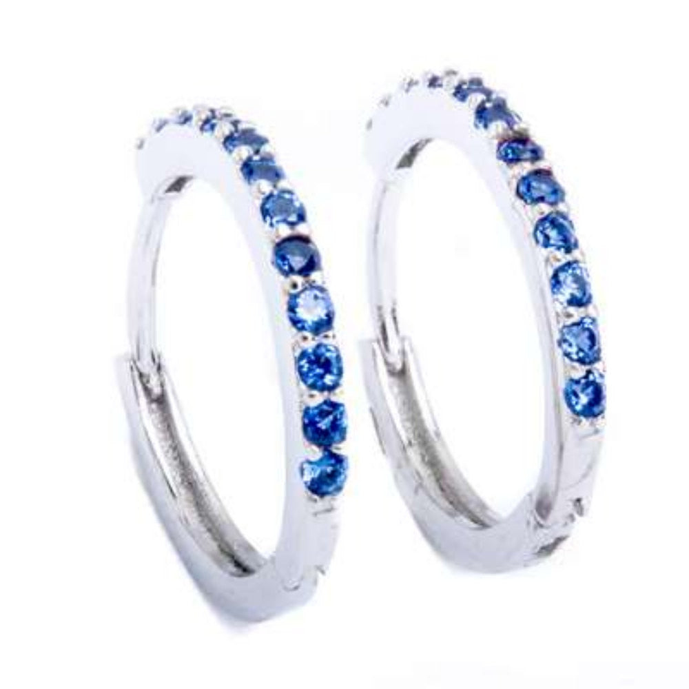 15mm Hoop Earrings Solid 925 Sterling Silver Channel Round Blue Violet Tanzanite CZ Hoop Huggies Earrings Gift - Blue Apple Jewelry