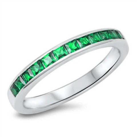 3mm Half Eternity Invisible Princess Cut Emerald Green CZ Band Ring May Birthstone Solid 925 Sterling Silver Wedding Engagement Anniversary - Blue Apple Jewelry