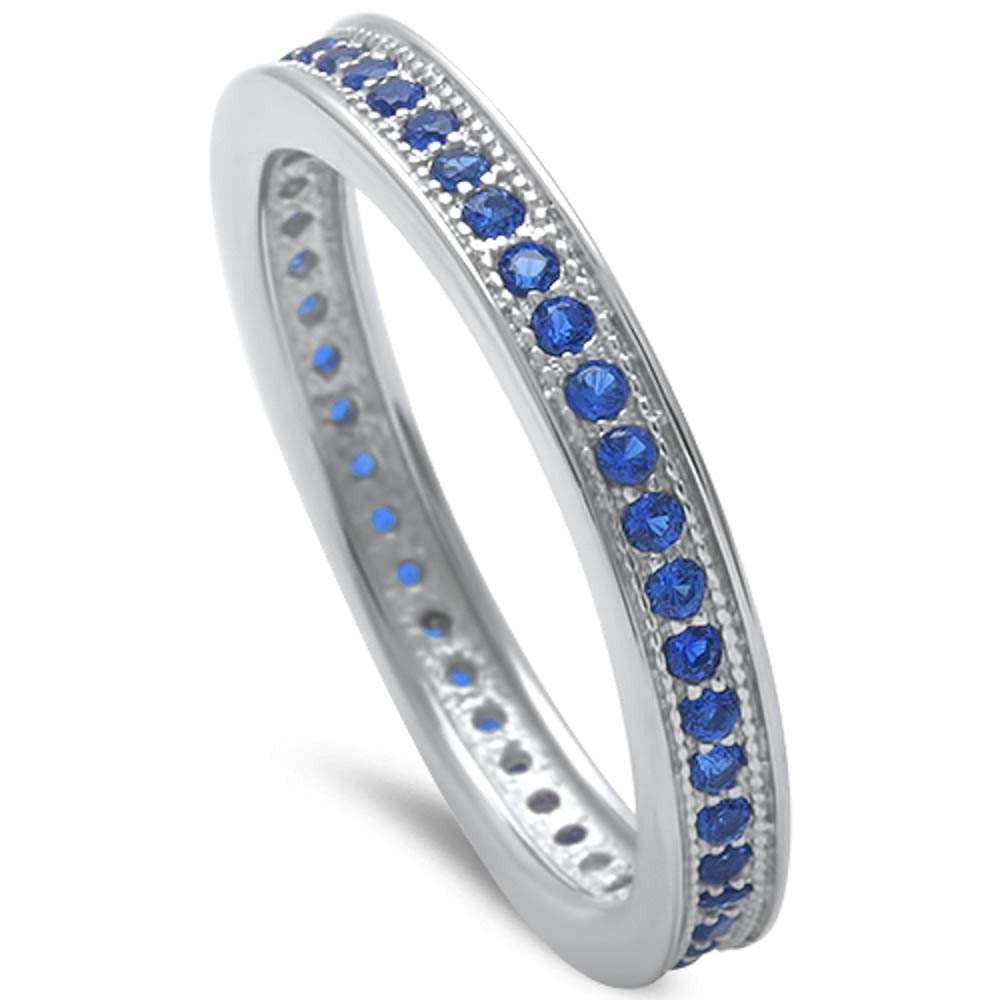 3mm Stackable Full Eternity Band Solid 925 Sterling Silver Round Royal Blue Sapphire Ladies Wedding Engagement Anniversary Ring Size 4-10 - Blue Apple Jewelry