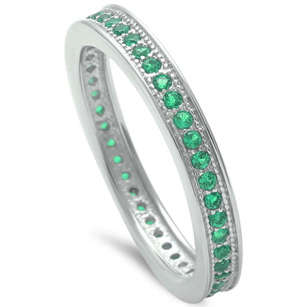 3mm Stackable Full Eternity Band Solid 925 Sterling Silver Round Emerald Green Ladies Wedding Engagement Anniversary Ring Size 4-10 - Blue Apple Jewelry
