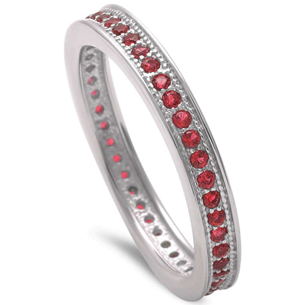 3mm Stackable Full Eternity Band Solid 925 Sterling Silver Round Red Ruby Ladies Wedding Engagement Anniversary Ring Size 4-10 July Stone - Blue Apple Jewelry