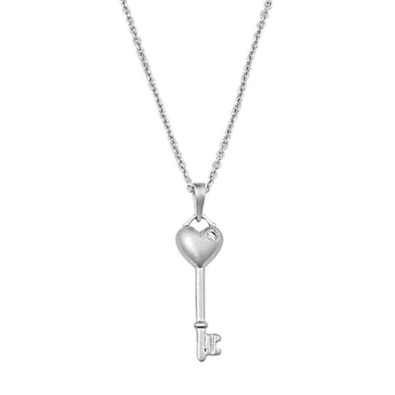 Heart Key Necklace Heart Necklace Key to Heart Necklace Pendant Solid 925 Sterling Silver Round Diamond Clear Crystal CZ heart key charm - Blue Apple Jewelry