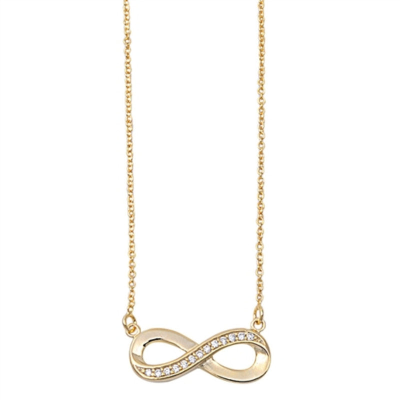 Yellow Gold Infinity Necklace Twisted Knot Crisscross Crossover Sterling Silver Clear White Diamond Russian CZ Necklace Pendant Infinity - Blue Apple Jewelry