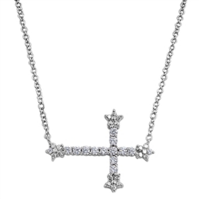 Sideways Cross Necklace Solid 925 Sterling Silver Round Diamond CZ Clear CZ Sideways Cross Pendant Necklace Trendy Gift - Blue Apple Jewelry