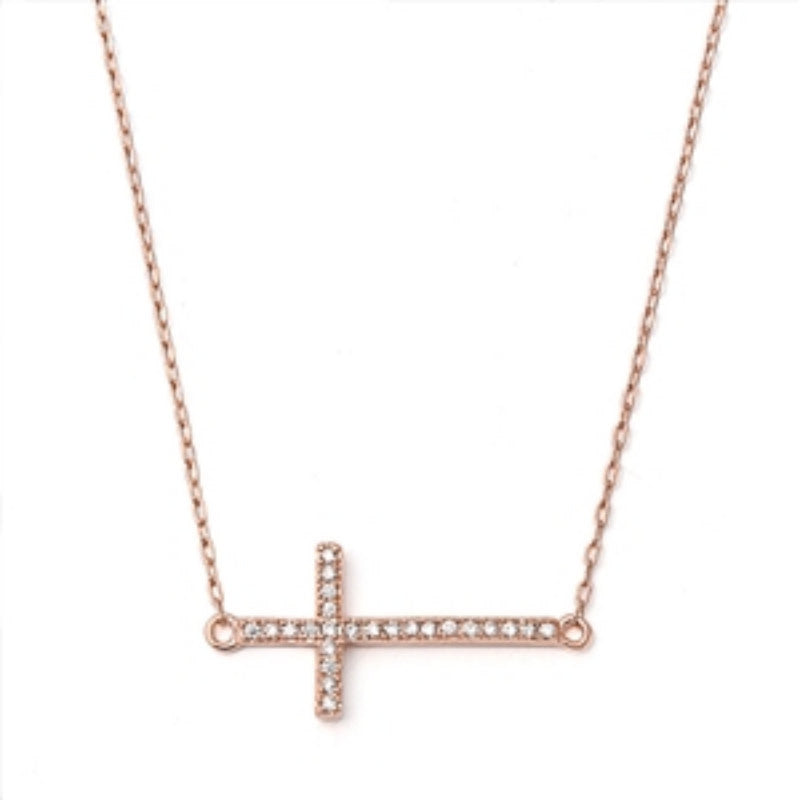 Pink Rose Gold Sideways Cross Necklace Solid 925 Sterling Silver Round Diamond CZ Clear CZ Sideways Cross Pendant Necklace Trendy Gift - Blue Apple Jewelry
