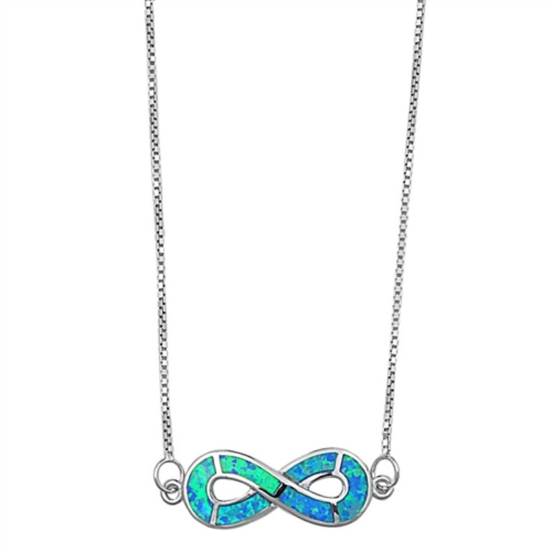 "Infinity Necklace Blue Opal  Solid 925 Sterling Silver 18"" Box Chain Crisscross Twisted Knot Lab Blue Opal Infinity Necklce Pendant,  - Blue Apple Jewelry"