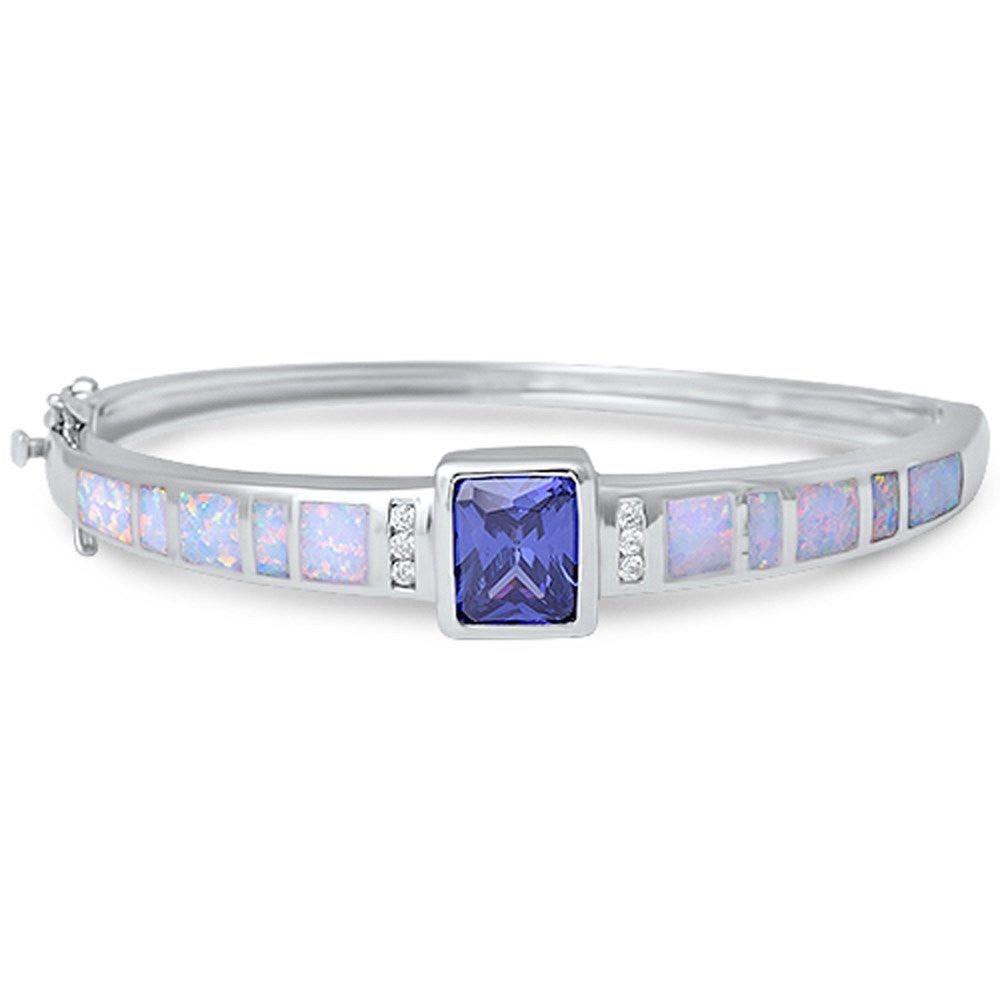 Bangle Bracelet 2.62CT Radiant Cut Tanzanite Round Diamond CZ Lab White Opal Solid 925 Sterling Silver Ladies Bangle Bracelet 12mm - Blue Apple Jewelry