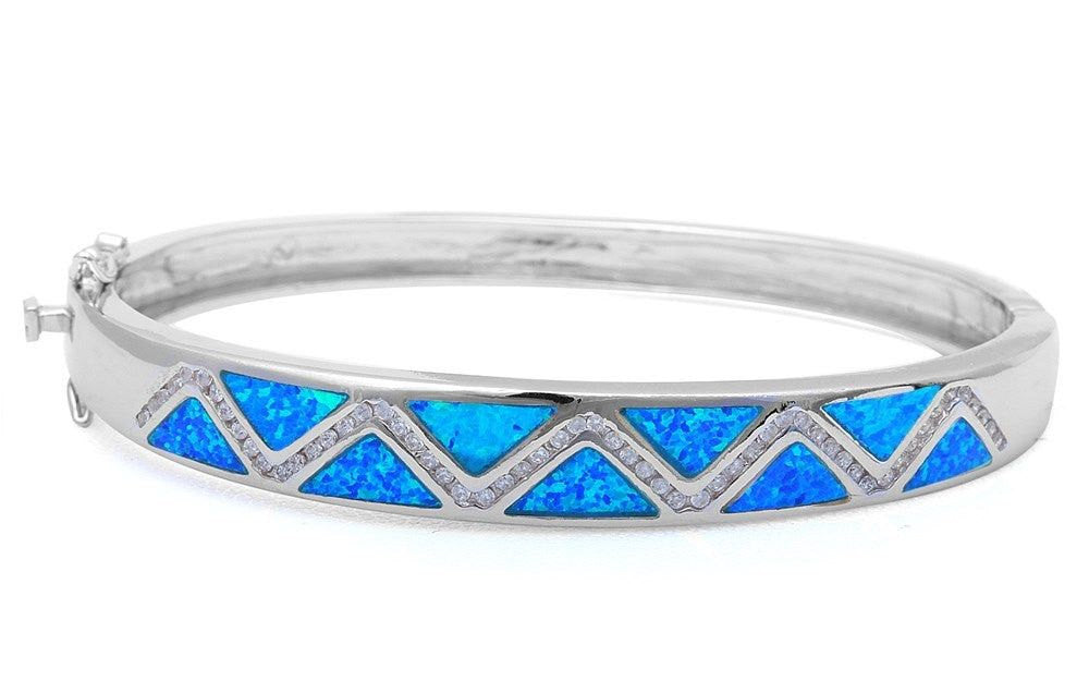 "Bangle Bracelet Solid 925 Sterling Silver Lab Created Australian Blue Opal Round Russian Diamond Clear CZ Trendy Ladies Bangle 7.25"" Gift - Blue Apple Jewelry"