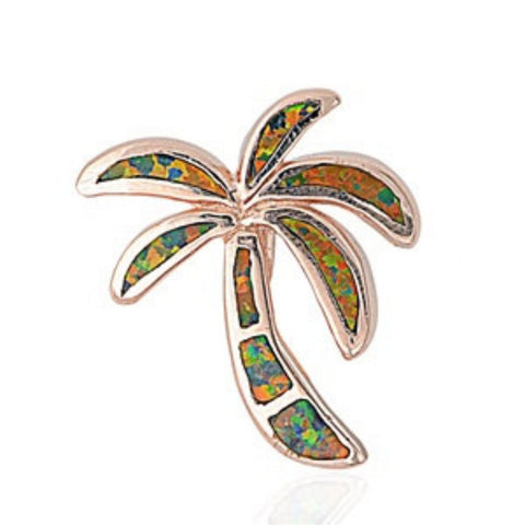 "Rose Gold 925 Sterling Silver Tropical Palm Tree Black Fire Lab Opal Pendant Charm For Necklace 0.8"" Fashion Gift"