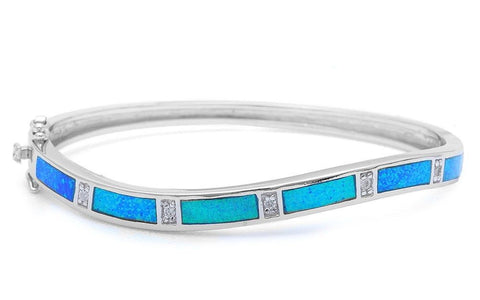 "Curvy Curved Bangle Bracelet Solid 925 Sterling Silver Lab Australian Blue Opal Round Russian Diamond Clear CZ Trendy Ladies Bangle 7.25"" - Blue Apple Jewelry"