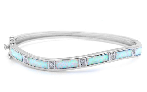 "Curvy Curved Bangle Bracelet Solid 925 Sterling Silver Lab Australian White Opal Round Russian Diamond Clear CZ Trendy Ladies Bangle 7.25"" - Blue Apple Jewelry"