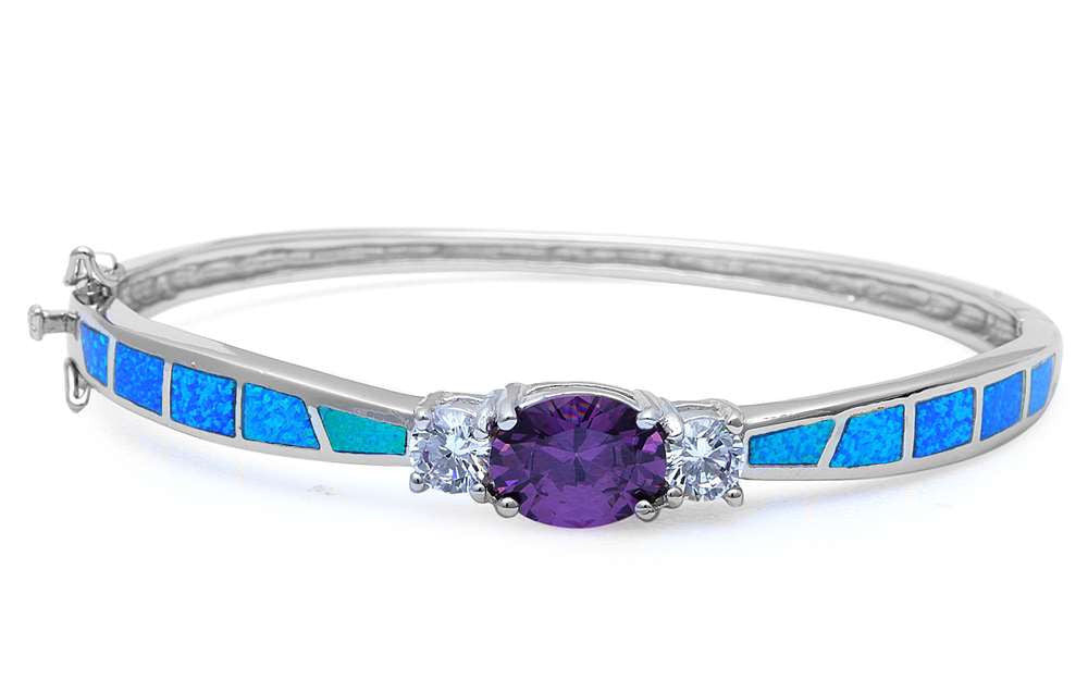 Three Stone Bangle 2.54 Carat Oval Cut Purple Amethyst Round Russian Diamond CZ Lab Blue Opal Solid 925 Sterling Silver Bangle Bracelet - Blue Apple Jewelry