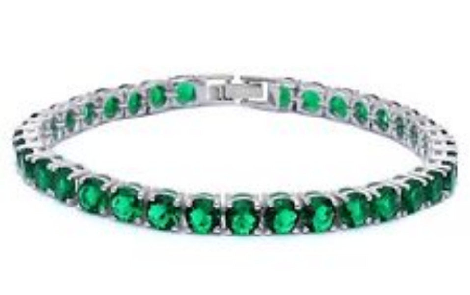 Elegant Tennis Bracelet Round Cut Emerald Green Solid 925 Sterling Silver Solitaire Wedding Engagement Tennis Bracelet Top Gift - Blue Apple Jewelry