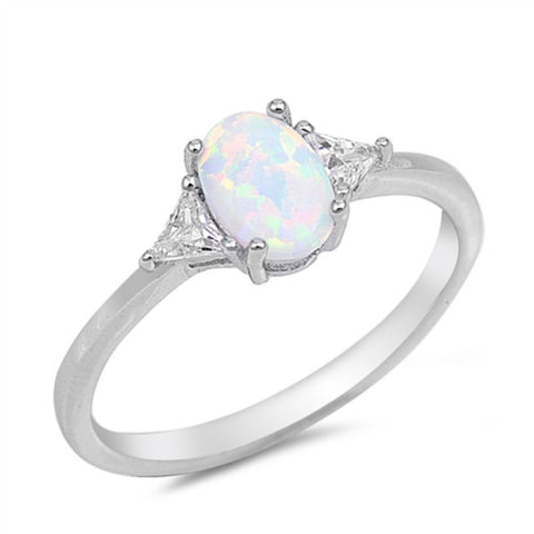 1CT Oval Cut White Opal Ring 925 Sterling Silver Lab Created White Australian Opal Triangle Clear Diamond CZ Accent Wedding Engagement Ring - Blue Apple Jewelry