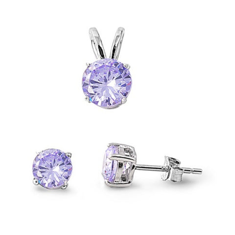 Pendant Earring Matching Set 925 Sterling Silver Round  Lavender CZ Alexandrite Pendant Stud Earring Matching Set Solitaire Matching Set