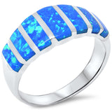 8mm Half Eternity Solid 925 Sterling Silver Lab Created Blue Opal Inlay Ladies Wedding Engagement Anniversary Band Ring Excellent Gift - Blue Apple Jewelry