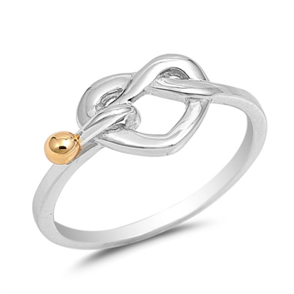 Love Knot Ring Two Tone Yellow Gold Over 2 Tone Ball Solid 925 Sterling Silver Heart Knot Simple Plain Promise Ring Lovely Gift Size 4-16