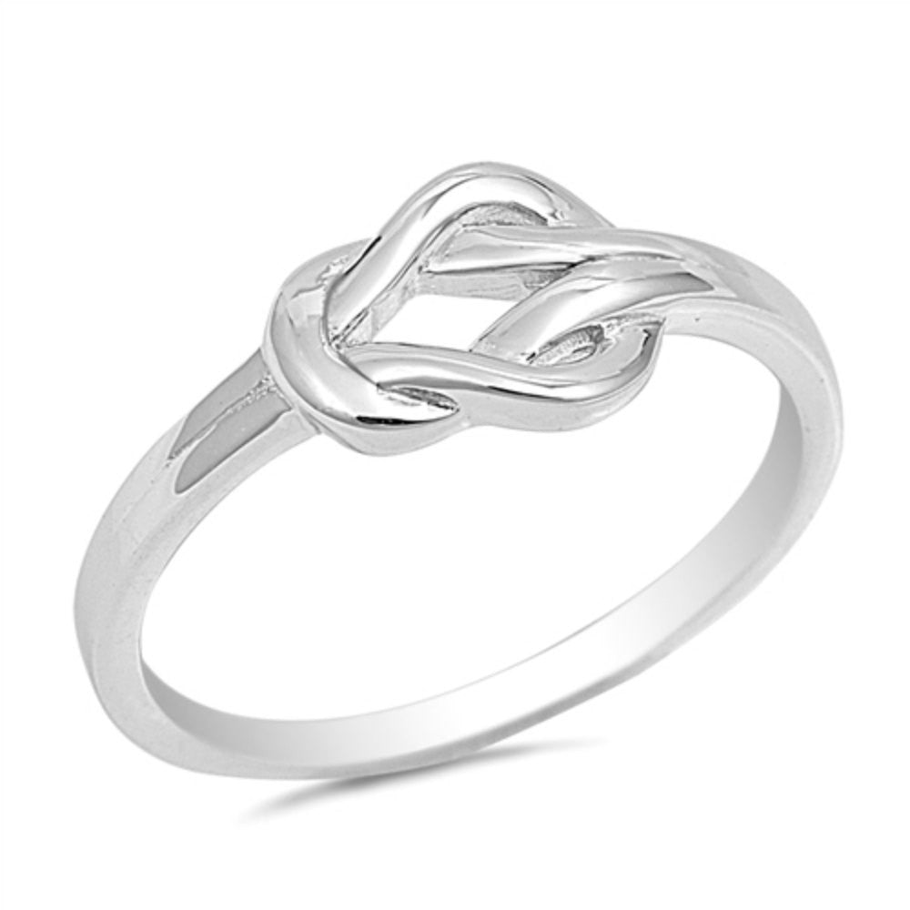 Love Knot Ring Solid 925 Sterling Silver Heart Knot Simple Plain Promise Ring Lovely For Valentines Gift Size 4-16