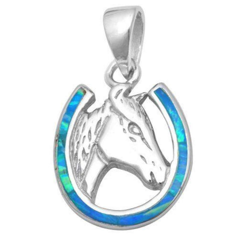 "Horse Shoe Pendant Horse Charm Solid 925 Sterling Silver Lab Crated Blue Opal Horse Horse Shoe Pendant Horse shoe jewelry 1""x.5"" - Blue Apple Jewelry"
