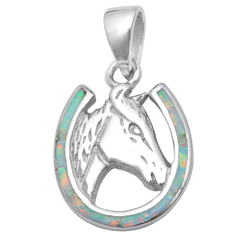 "Horse Shoe Pendant Horse Charm Solid 925 Sterling Silver Lab Crated White Opal Horse Horse Shoe Pendant Horse shoe jewelry 1""x.5"" - Blue Apple Jewelry"